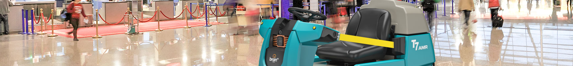 Tennant T7AMR Robotic Floor Scrubber cleaning airport
