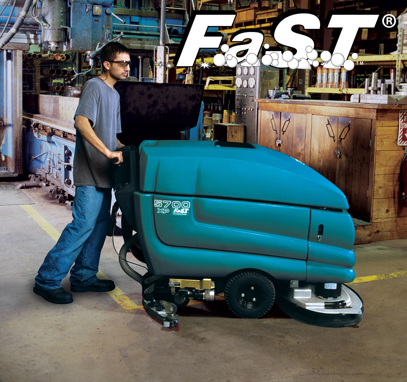 5700 Walk-Behind Scrubber with FaST Foam-activated Scrubbing Technology