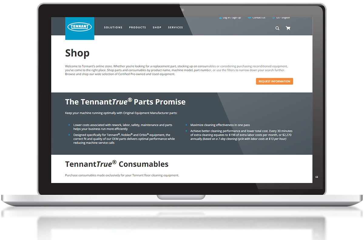Tennant Website Shop for parts screen
