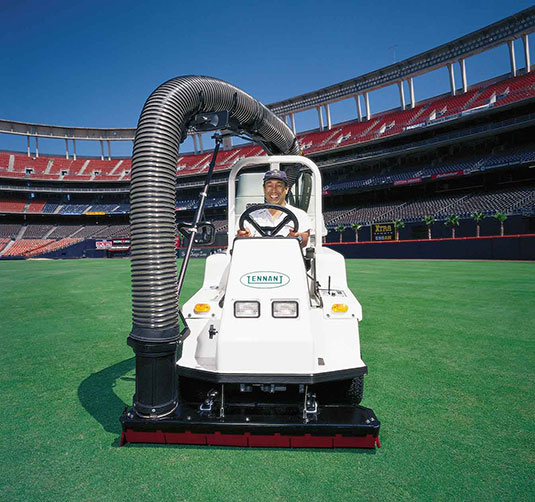 Tennant ATLV All-Terrain Litter Vacuum cleaning stadium