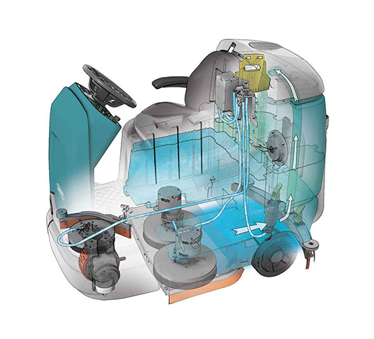 Tennant T12 Scrubber disk machine illustration
