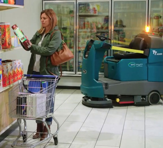 T7AMR Robotic Cleaning Machine cleaning a retail facility