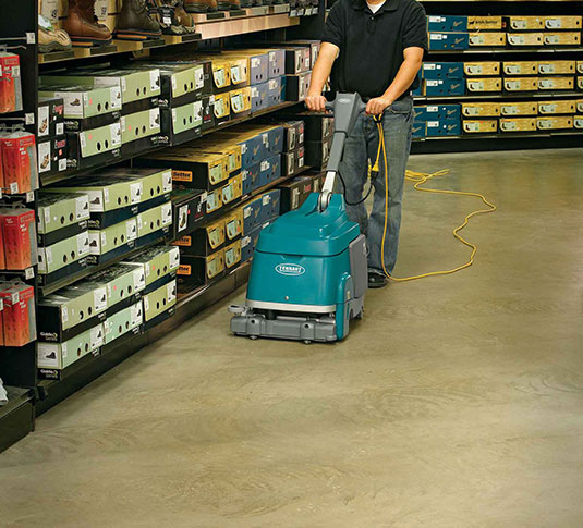 Clean floors with mechanized floor scrubbers