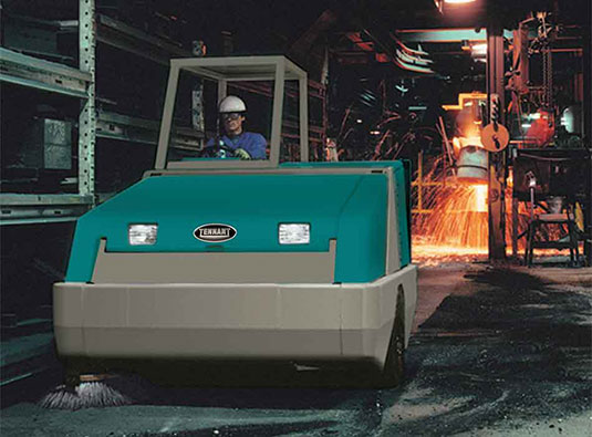 Tennant 800 Rider Sweeper in a refinery