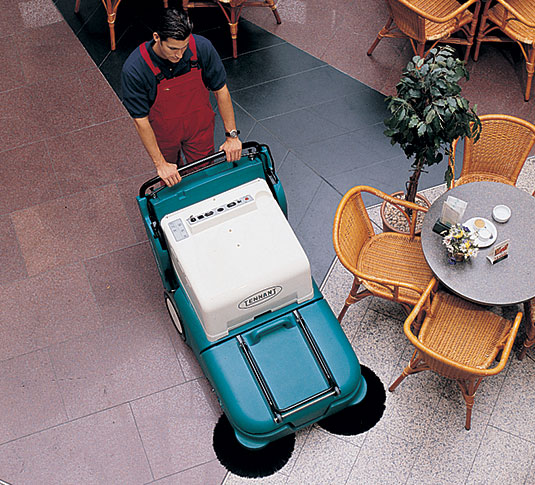 Tennant 3640 sweeper cleaning retail building